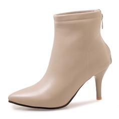 Frauen Kunstleder Stöckel Absatz Absatzschuhe Stiefel Stiefel-Wadenlang mit Reißverschluss Schuhe (088172959)
