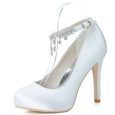 Women's Satin Stiletto Heel Closed Toe Pumps With Rhinestone Tassel (047057099)