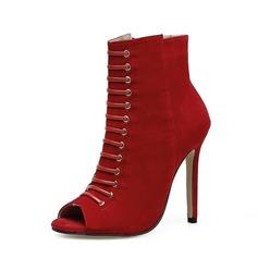 Frauen Veloursleder Stöckel Absatz Absatzschuhe Stiefel Peep Toe Stiefelette mit Reißverschluss Schuhe (088151840)