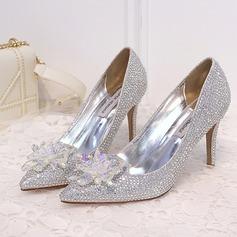 Women's Leatherette Stiletto Heel Closed Toe Pumps With Crystal (047193141)