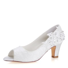 Women's Lace Silk Like Satin Stiletto Heel Peep Toe Pumps With Stitching Lace Pearl (047190301)