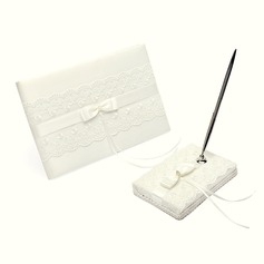 Elegante Strass/Arco/Pizzo Guestbook & Set di penne (101018169)