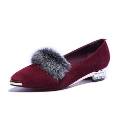 Real Leather Low Heel Flats Closed Toe With Fur shoes (086058090)