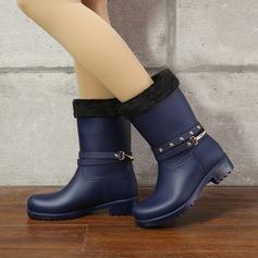 Frauen PVC Niederiger Absatz Stiefel Stiefel-Wadenlang Regenstiefel mit Pailletten Niete Schuhe (088131045)