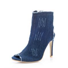 Frauen Baumwollstoff Stöckel Absatz Absatzschuhe Stiefel Peep Toe mit Reißverschluss Schuhe (088144356)
