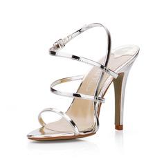 Donna Pelle verniciata Tacco a spillo Sandalo Con cinturino scarpe (087022637)