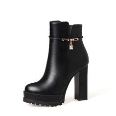 Frauen PU Stämmiger Absatz Absatzschuhe Stiefel mit Strass Reißverschluss Schuhe (088136939)