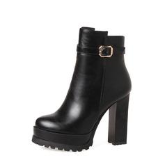 Frauen PU Stämmiger Absatz Absatzschuhe Stiefel Martin Stiefel mit Schnalle Reißverschluss Schuhe (088136937)
