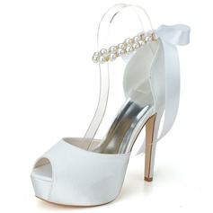 Women's Satin Stiletto Heel Peep Toe Pumps Sandals With Imitation Pearl (047058246)