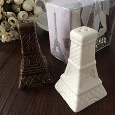 Torre Eiffel Diseño Cerámico Sal y Pimienta Shakers con Cintas/Etiqueta (Juego de 2 piezas) (051063174)