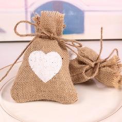 Découpe neige/Style cœur Forme en cœurs Lin Sacs cadeaux (Lot de 12) (050166453)