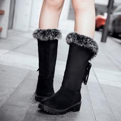 Frauen Wildleder Flascher Absatz Stiefel Schneestiefel mit Quaste Pelz Schuhe (088109406)