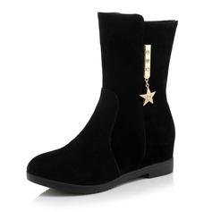 Frauen Wildleder Keil Absatz Keile Stiefel Stiefel-Wadenlang mit Strass Schuhe (088093597)