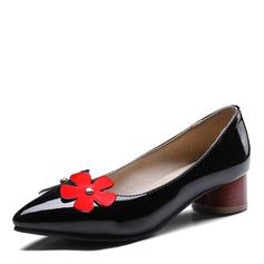Donna Similpelle Tacco spesso Ballerine con Fiore scarpe (086172781)
