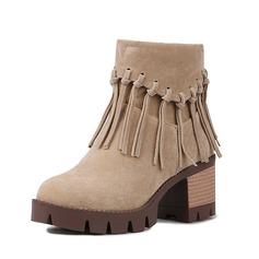 Frauen Wildleder Stämmiger Absatz Stiefelette mit Quaste Schuhe (088091724)