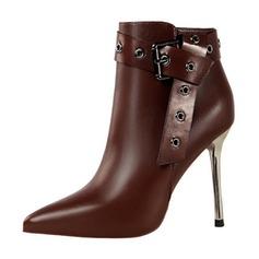De mujer Cuero Tacón stilettos Cerrados Botas Botas al tobillo con Hebilla zapatos (088191470)