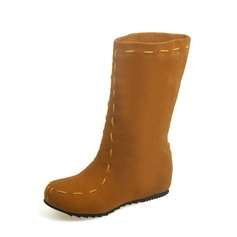 Frauen Veloursleder Flascher Absatz Flache Schuhe Geschlossene Zehe Stiefel Stiefel-Wadenlang mit Andere Schuhe (088126573)
