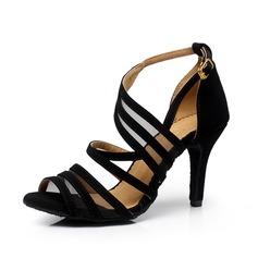 Donna Camoscio Tacchi Sandalo Stiletto Latino Scarpe da ballo (053063328)