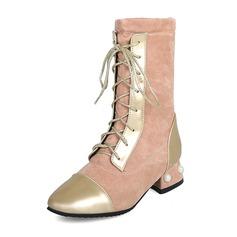 Frauen Kunstleder Stämmiger Absatz Stiefel Stiefel-Wadenlang Martin Stiefel mit Nachahmungen von Perlen Zuschnüren Schmuckabsatz Schuhe (088176622)