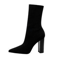 De mujer Malla Tacón ancho Salón Cerrados Botas Botas longitud media zapatos (088191467)