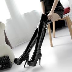 Donna Pelle verniciata Tacco a spillo Stiletto Piattaforma Stivali Stivali al ginocchio con Cerniera Altrui scarpe (088137518)