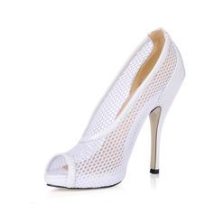 Kvinnor Konstläder Stilettklack Peep Toe Pumps Sandaler (047016565)