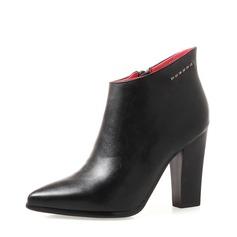 Frauen PU Stämmiger Absatz Absatzschuhe Stiefelette mit Strass Reißverschluss Schuhe (088136934)