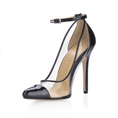 Leatherette Stiletto Heel Pumps Closed Toe With Buckle shoes (085016999)
