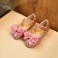 Ragazze Punta chiusa finta pelle Heel piatto Scarpe Flower Girl con Bowknot Glitter scintillanti Velcro (207141457)