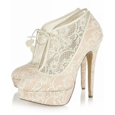 Women's Lace Stiletto Heel Boots Closed Toe Platform Pumps (047026584)