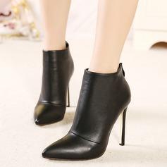 Frauen Wildleder Stöckel Absatz Absatzschuhe Stiefel mit Reißverschluss Schuhe (088103836)