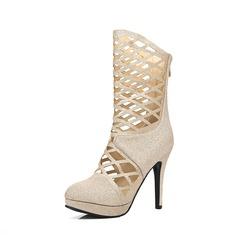 Frauen Kunstleder Stöckel Absatz Sandalen Absatzschuhe Geschlossene Zehe Stiefel-Wadenlang mit Reißverschluss Hohl-out Schuhe (088124760)