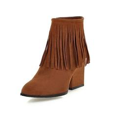 Frauen Wildleder Stämmiger Absatz Stiefelette mit Reißverschluss Quaste Schuhe (088097361)