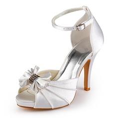 Mulheres Cetim Salto cone Peep toe Plataforma Sandálias com Da curva Fivela (047005118)