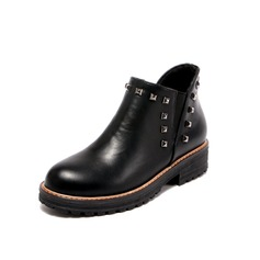 Frauen Kunstleder Niederiger Absatz Stiefel Schuhe (088098486)