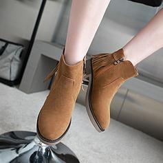 Frauen Veloursleder Stämmiger Absatz Absatzschuhe Stiefel Stiefelette mit Reißverschluss Quaste Schuhe (088142824)