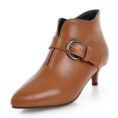 Frauen Kunstleder Niederiger Absatz Stiefel Stiefelette mit Schnalle Schuhe (088190940)