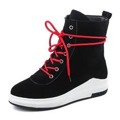 Frauen Veloursleder Flascher Absatz Flache Schuhe Stiefelette mit Zuschnüren Schuhe (088144274)