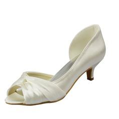 Frauen Satin Kätzchen Absatz Peep-Toe Sandalen mit Geraffte (047063630)