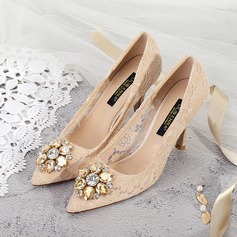 Women's Lace Stiletto Heel Closed Toe Pumps With Crystal (047193140)