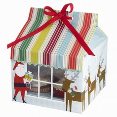 Santa Claus Card Paper Favor Boxes & Containers/Cupcake Boxes With Ribbons (Set of 12) (050028078)