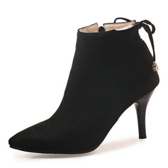 Donna Camoscio Tacco a spillo Stiletto Punta chiusa Stivali Stivali alla caviglia con Bowknot Cerniera scarpe (088176512)