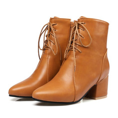 Frauen Kunstleder Flascher Absatz Stiefel Geschlossene Zehe Flache Schuhe mit Zuschnüren (047190356)