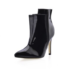Patent Leather Stiletto Heel Closed Toe Ankle Boots (088016969)