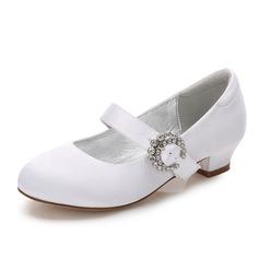 Mädchens Round Toe Geschlossene Zehe Mary Jane Seide wie Satin niedrige Ferse Blumenmädchen Schuhe mit Schnalle Strass (207202106)