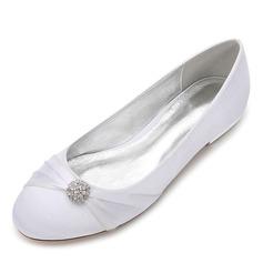 Frauen Seide wie Satin Flascher Absatz Geschlossene Zehe Flache Schuhe mit Satin Schnürsenkel Kristall (047187632)