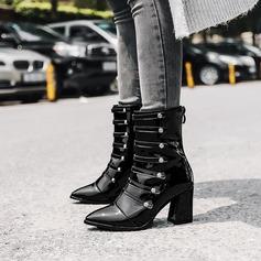 Frauen Lackleder Stämmiger Absatz Absatzschuhe Stiefelette mit Reißverschluss Knopf Schuhe (088138798)