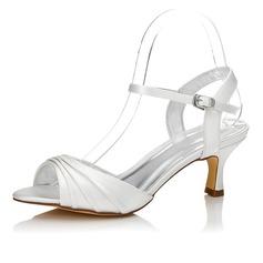 Frauen Satin Niederiger Absatz Sandalen Slingpumps Färbbare Schuhe (047088677)
