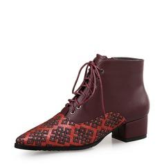 Frauen Microfaser-Leder Stämmiger Absatz Absatzschuhe Geschlossene Zehe Stiefel mit Zuschnüren Zweiteiliger Stoff Schuhe (088132676)