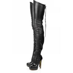 Konstläder Stilettklack Plattform Over The Knee Boots med Zipper skor (088030235)
